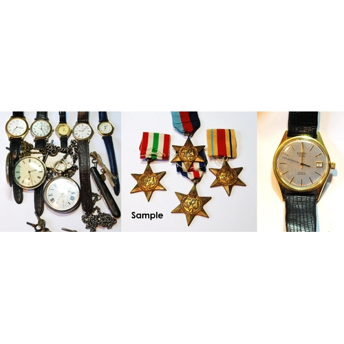 55A - Two silver pocket watches, a silver guard, six wristwatches and various medals....