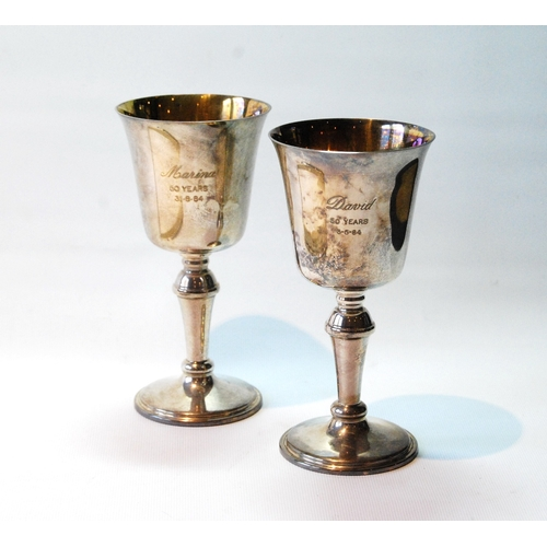 6 - Pair of silver goblets of 17th century style, 1978, cased, 11oz. (2)...