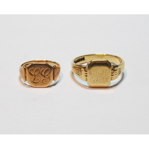 8 - Two 9ct gold signet rings, 8.5g....