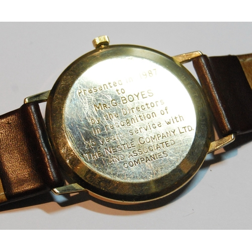 9 - Gent's Omega quartz 1430 watch, 1987, 9ct gold, inscribed and dated 1987....