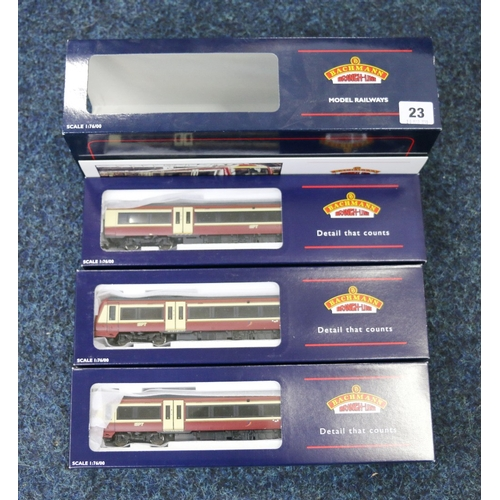23 - Bachmann Branch-Line OO gauge Class 170 Turbostar three-car DMU set Strathclyde PTE 32-462, boxed...