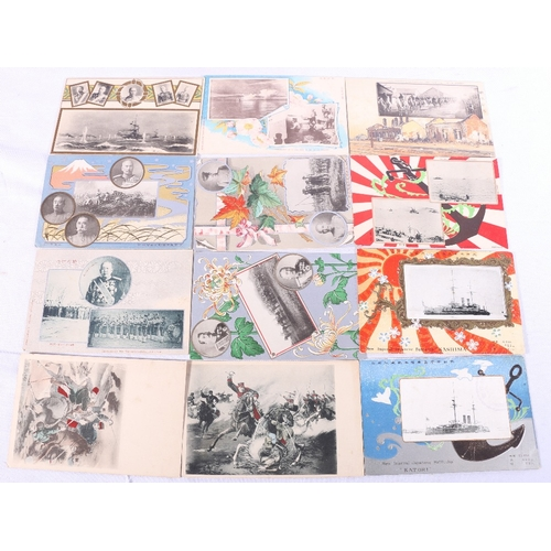 250 - A collection of approximately 148 early 20th century Japanese postcards most of Russo-Japanese War 1...