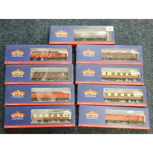 33 - 9 Bachmann Branch-Line OO gauge model railways coaches including 39-185, 39-226D, 39-420, 39-420A, 3...