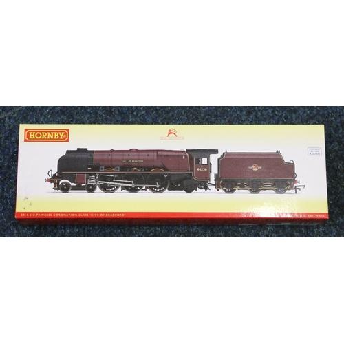 58 - Hornby OO gauge model railways 4-6-2 City of Bradford locomotive and tender Princess Coronation Clas...