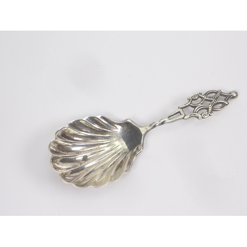 21 - Silver caddy spoon with scallop bowl by Jackson & Fullerton 1899....
