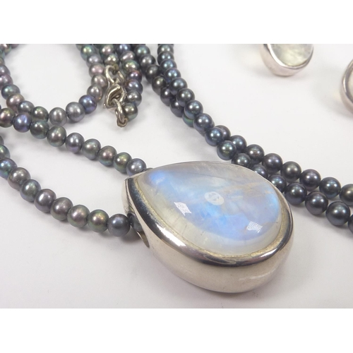 44 - Labradorite pendant and earrings in silver, with black pearl necklace and similar two strand necklac...