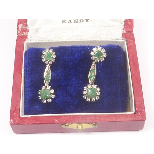 53 - Pair of emerald drop earrings in Ceylon case....