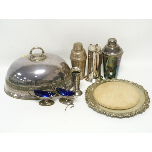 60 - E.p. meat dish cover, two cocktail shakers, a hot water pot and various other items....
