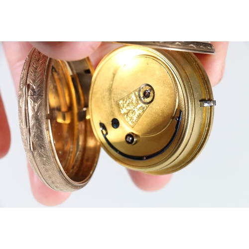 11 - 9ct yellow gold key winding open faced pocket watch, the back plate engraved