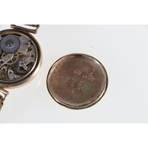 14 - Gent's 9ct gold cased wristwatch with 15 jewel Mobilia movement, the back plate stamped 9 and 375, F...
