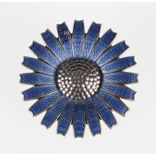 28 - Georg Jensen enamelled silver daisy brooch in grey blue, 42 mm...