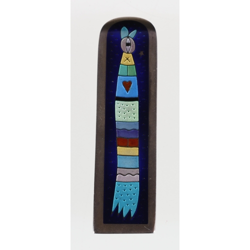 29 - Contemporary enamelled brooch, maker JLM, control mark, c2002, 7.5 cm...