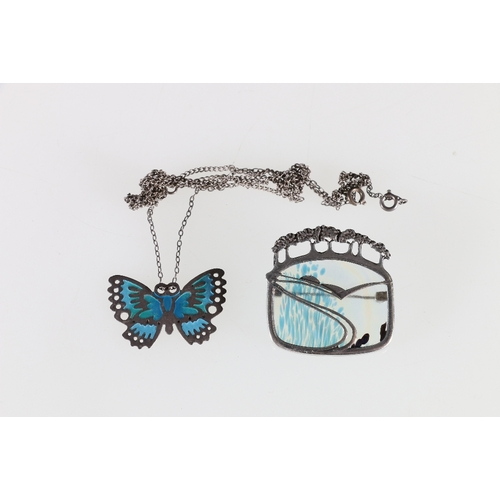 41 - Norman Grant enamelled butterfly pendant and a silver and glass contemporary brooch marked PPC....