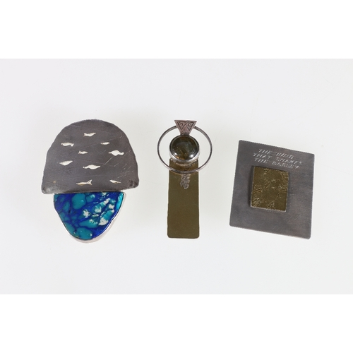 48 - Three silver brooches by SMS, a Celtic cross, a gilded panel brooch 'The Wind that Shakes the Barley...