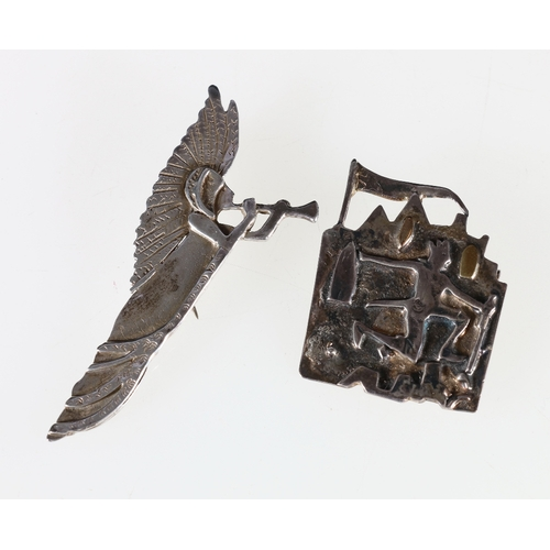 49 - A silver brooch by SMS '10 Lords a Leaping', Edinburgh 1993 and an Herald brooch, 2003....