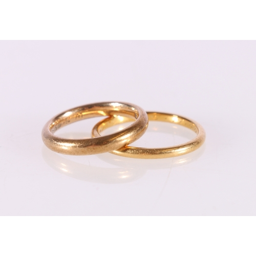 55 - 22ct yellow gold plain wedding band, ring size P, 2.6g and a 9ct yellow gold plain wedding band, rin...