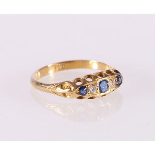 57 - 18ct yellow gold sapphire and diamond five stone dress ring, stamped