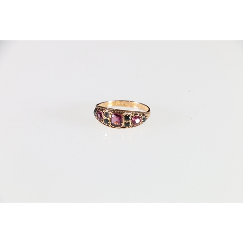9 - 15ct yellow gold emerald and ruby dress ring with engraved shank, stamped 625 and 15 to interior, 2....