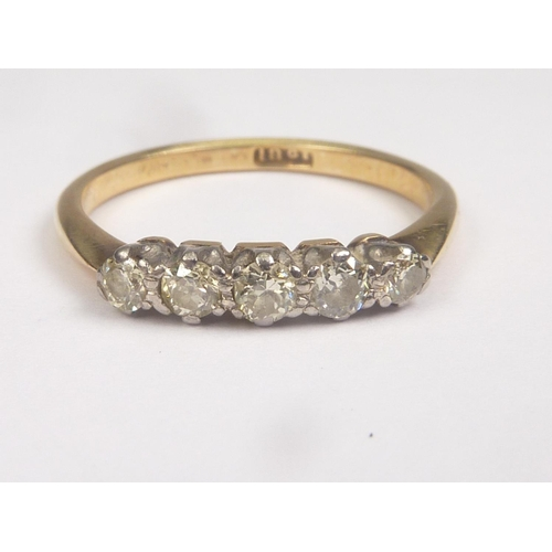 12 - Diamond five stone ring with brilliants, approx. .4ct, '18ct'. Size 'N'....