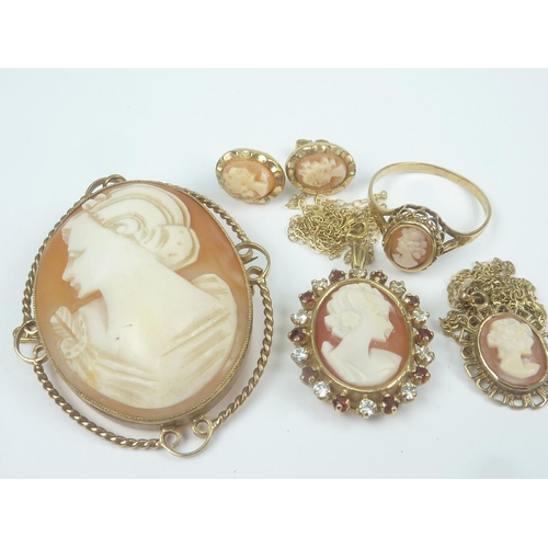 13 - Cameo brooch, two similar pendants one gem set, a pair of earrings and a cameo ring, mostly 9ct gold...