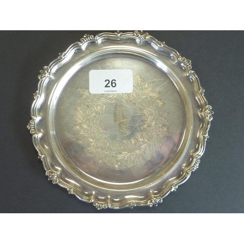 26 - Silver circular card tray with engraved band and shaped moulded edge by A. Hadfield, Sheffield 1848,...
