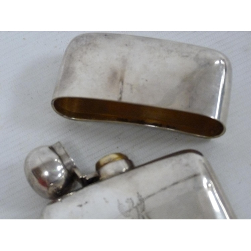 29 - Silver hip flask with detachable cup and bayonet cap, crested, by Dixon & Sons, Sheffield 1896....