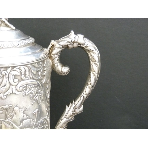 44 - Good Chinese 19th century silver flagon, cylindrical, nicely chased and matted with a view of a sail...