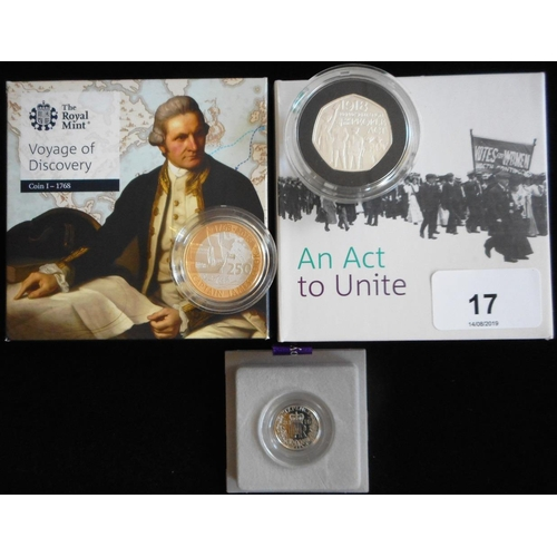 17 - United Kingdom. (2) Two pounds. 2018. 250th Anniversary of Capt. Cook's Voyage of Discovery. Silver ...