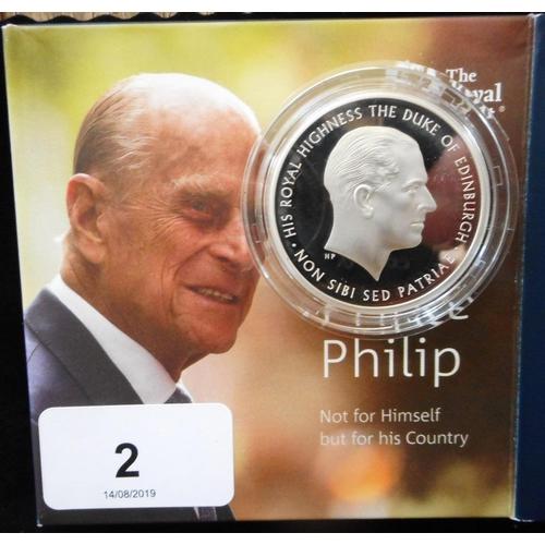 2 - United Kingdom. Five pound crown. 2017. Prince Philip. Silver Proof Piedfort. Cased....