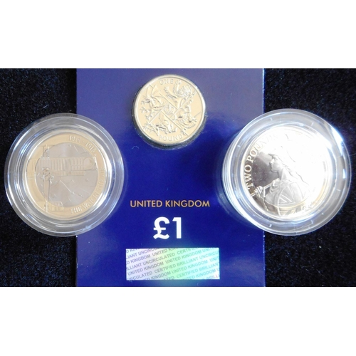21 - United Kingdom. (3) Two pounds. 2017. First World war Aviation.; 2017. Britannia. Both Proof. One po...