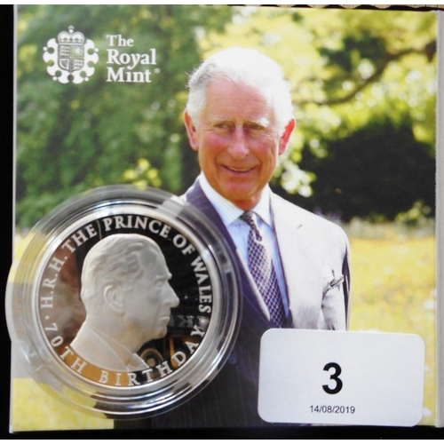 3 - United Kingdom. Five pound crown. 2018. Prince Charles 70th birthday. Silver Proof Piedfort. Cased....