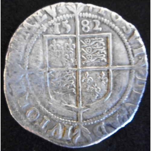 30 - England. Hammered silver sixpence. Elizabeth I. 5th issue. 1582, mm possibly sword. (SC 2572)...