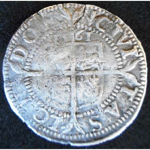 31 - England. Hammered silver three halfpence. Elizabeth I. Third and Fourth issue.  1561, mm pheon....