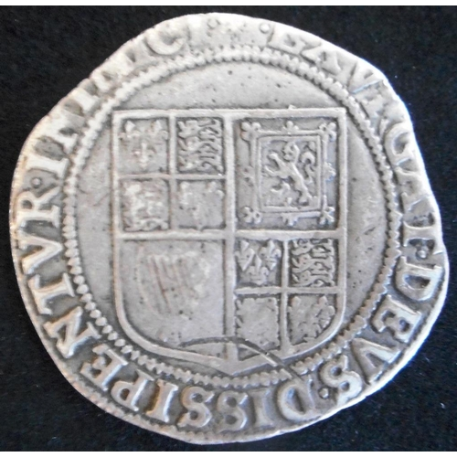 32 - England. Hammered silver shilling. James I. First coinage 1603-1604, mm lys. (SC 2646)...
