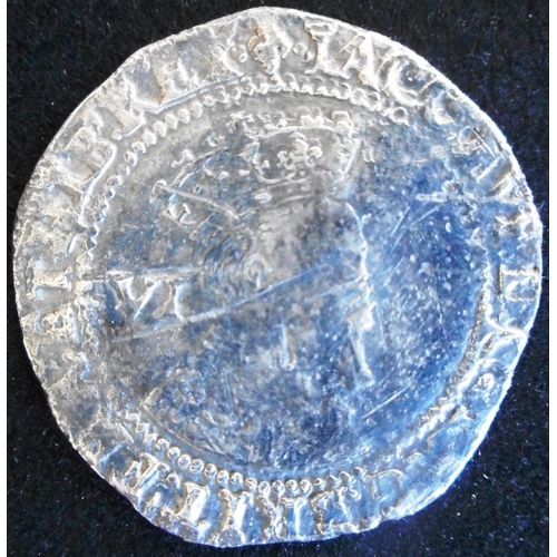 34 - England. (2) Hammered silver sixpence. James I. Second coinage, 3rd bust 1604, mm lys (SC 2657) Half...