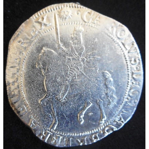 35 - England. Hammered silver half crown. Charles I. Group IV. Foreshortened horse. 1645-4, mm sun. (SC 2...