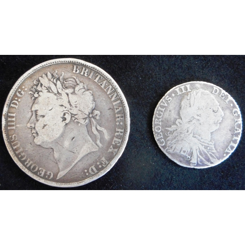 36 - United Kingdom. Crown. George IV. 1822 TERTIO. Edge knocks otherwise Good. Shilling. George III. 178...