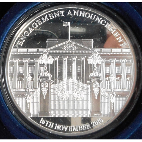 38 - Gibraltar. 5 oz. Silver Proof medallion. The Royal Engagement. 2010. Cased....