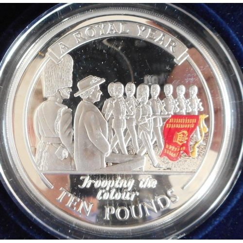 39 - Gibraltar. £10. 2005. Trooping the Colour. 5 oz. Silver Proof. Cased....