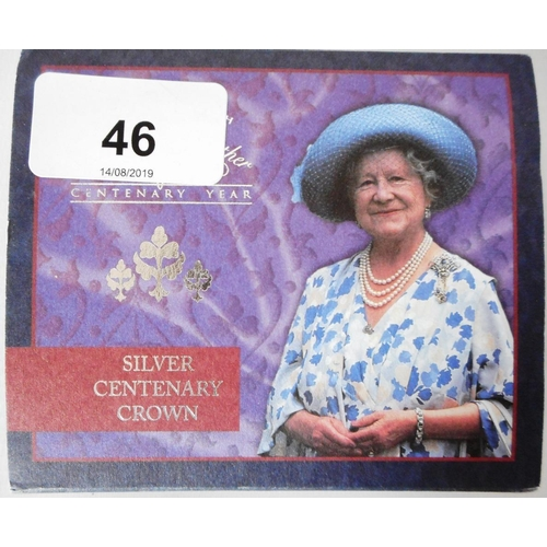 46 - United Kingdom. £5 crown. 2000. The Queen Mother Centenary. Silver Proof. Cased....