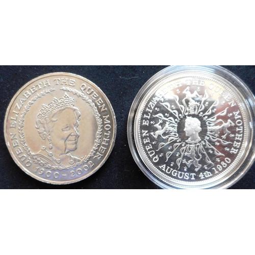 53 - United Kingdom. (2) £5 crown. 2002. N.Unc. Crown. 1980. Silver Proof. Cased....