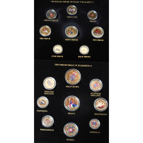 57 - United Kingdom. (18) Set of Gold plated and coloured coins, both pre-decimal & decimal of EIIR. ...