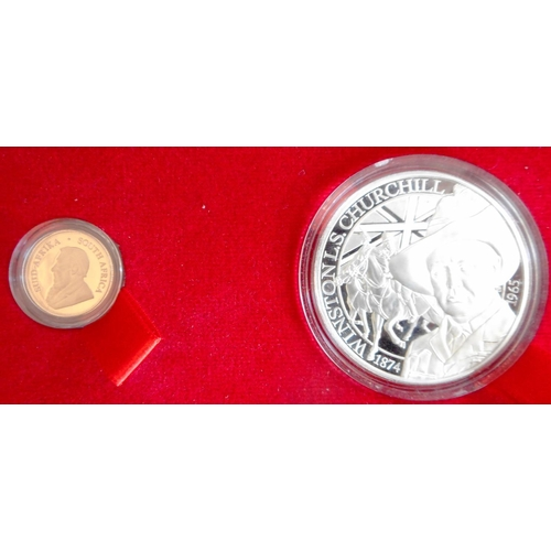 6 - South Africa. Krugerrand Collectors set 2015. Winston Churchill 1874-1965. 1 1/10th oz. Krugerrand a...