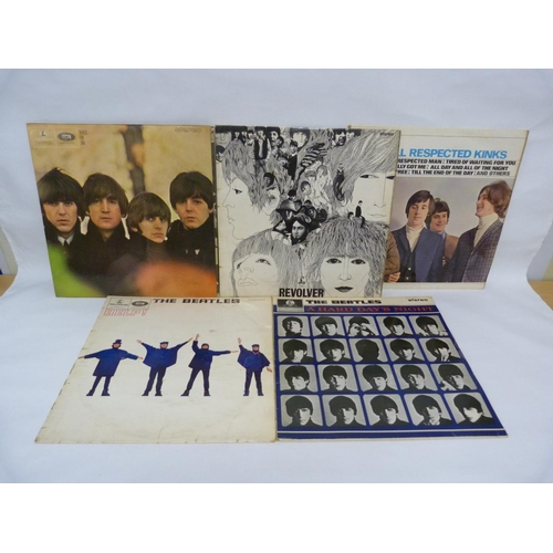 17 - 4 x The Beatles LPs and a Kinks LP, to include Beatles For Sale (stereo), Revolver (stereo) Help, al...