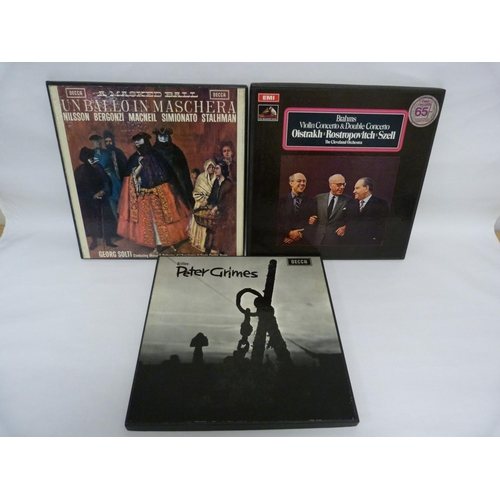 23 - 3 x stereo classical box sets by Solti (wide band grooved), Britten (wide band) and Oistrakh (colour...