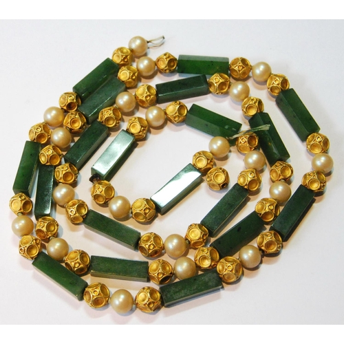 107 - Necklace of rectangular Bowenite jade, imitation pearl and forty gold bead links, probably 18ct, app...