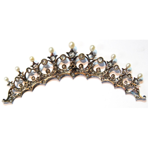 86 - 19th century part tiara with ninety old-cut diamond brilliants, the largest approximately .7ct, vari...