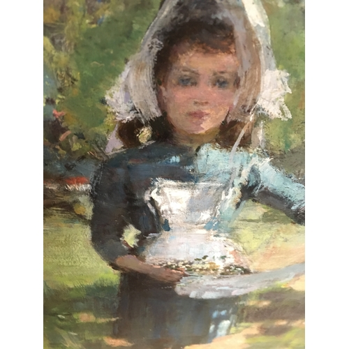 271 - LATE 19TH CENTURY SCHOOL<br />Young girl collecting flowers<br />Indistinctly signed with a monogram...