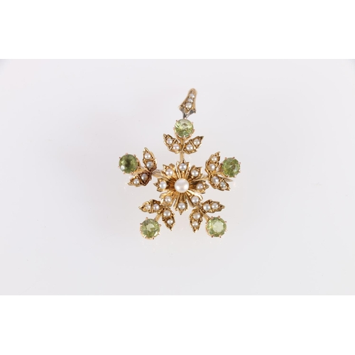 10 - Victorian gold brooch pendant with five peridot and pearl sprays and flowerhead. '15ct'. 5.4g....