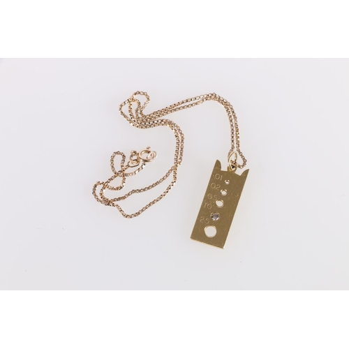 19 - 18ct gold pendant modelled as a diamond gauge with .10 of diamond on 9ct gold necklet.<br />18ct - 7...